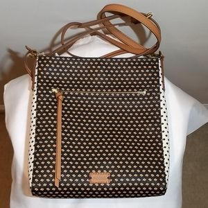 FOSSIL Black/Brown/White Leather Crossbody Purse